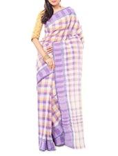 Checked Cotton Saree - Indian Saree Mandir