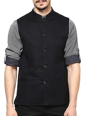 black linen nehru jacket -  online shopping for Nehru Jacket