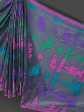 Black Floral Resham Art Silk Saree - Prabha Creations