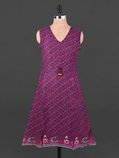 Purple And Pink Rayon Dress - EWA Women