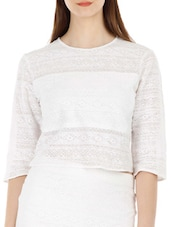 Quarter Sleeve Cotton Lace Top - Fuziv