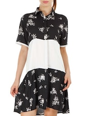 Short Sleeve Printed Shirt Dress - Fuziv
