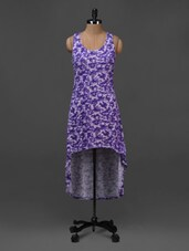 Purple Floral Printed Asymmetric Dress - NUN