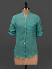 Sea Green Mandarin Collar Shirt - NUN