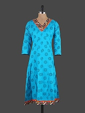 Embroidered V-Neck Block Printed Long Kurta - VI