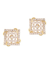 Zirconia Studded Gold Ear Studs - ZAVERI PEARLS
