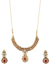 Embellished Gold Traditional Necklace And Earrings Set - ZAVERI PEARLS