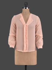 Solid Peach Full Sleeve Top - Golden Couture