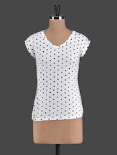 Monochrome Polka Dot V-neck Top - Golden Couture