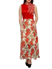Red And White Floral Print Georgette Kurta - By