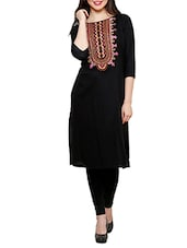 Black Rayon Embroidered Kurta - By