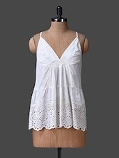White Cami Neck Schiffli Top - Liebemode