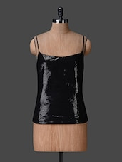 Black Cami Neck Sequined Top - Liebemode