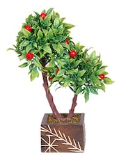 Loxia Artificial Bonsai Wild Plant With Red Flower In Wooden Vase Arrangement ( 10 Inch Height) - By