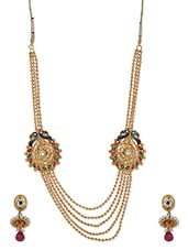Enameled Golden Multilayer Beaded Neckpiece Set - THE PARI