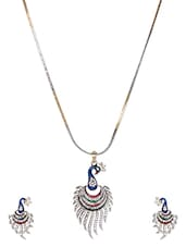 Enameled Ethnic Peacock Pendent Set - THE PARI