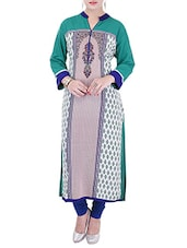 Green,white Rayon Long  Kurta - By