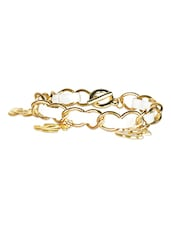 Gold  Metallic And White Leatherette Bracelet - Crunchy Fashion