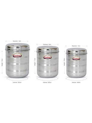 Shubham Kitchen Storage Steel Container 3 Pcs Set 300 to 525 ml S7-9 -  online shopping for Containers