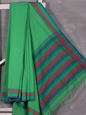 Green Hand Woven Bengal Cotton Saree - Attire Zone