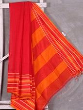 Striped Border & Anchal Red Bengal Cotton Saree - Attire Zone