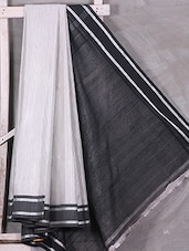 Grey Bengal Cotton Saree With Black Border & Pallu - Attire Zone