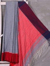Grey Bengal Cotton Saree With Red Border & Anchal - Attire Zone