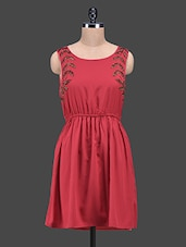 Red Embellished Sleeveless Polyester Dress - Oxolloxo