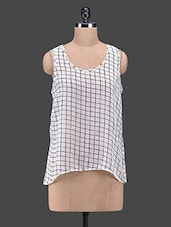 White Checks Sleeveless Georgette Top - Oxolloxo