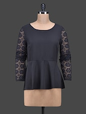 Black Polyester Top With Lace Sleeves - Oxolloxo