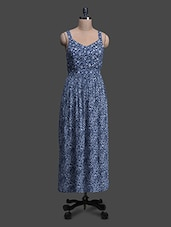 Blue Floral Viscose Maxi Dress - Oxolloxo