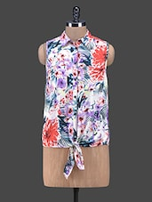 Floral Front Knot Tie-up Polyester Shirt - Oxolloxo