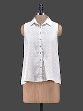 Off-white Polka Dots Crepe Top - Oxolloxo