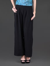 Solid Black Pleated Palazzo - Holidae