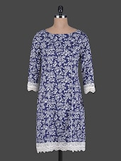 Floral Print Lace Embellished Panelled Cotton Dress - Holidae