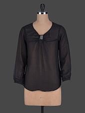 Sequined Long Sleeves Black Georgette Top - Holidae