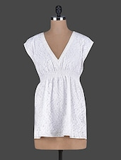 V Neck White Lace Top - Holidae