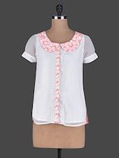 Peter Pan Collar Short Sleeves Georgette Top - Holidae
