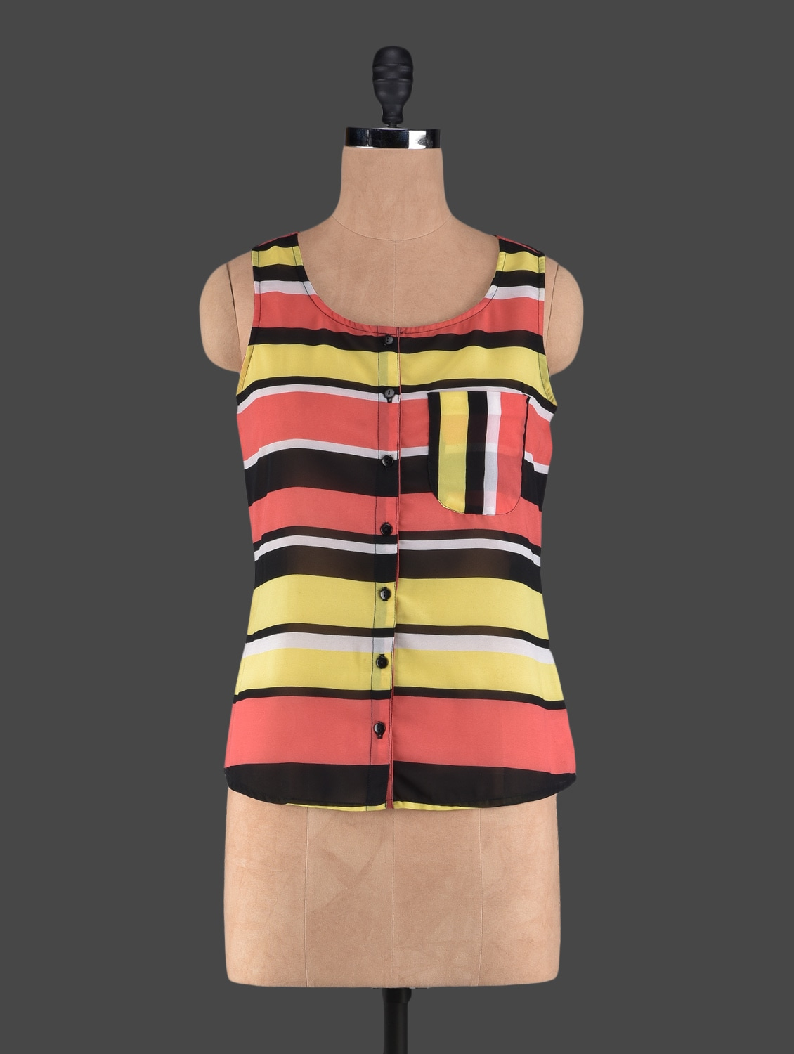 Round Neck Sleeveless Striped Georgette Top - Holidae