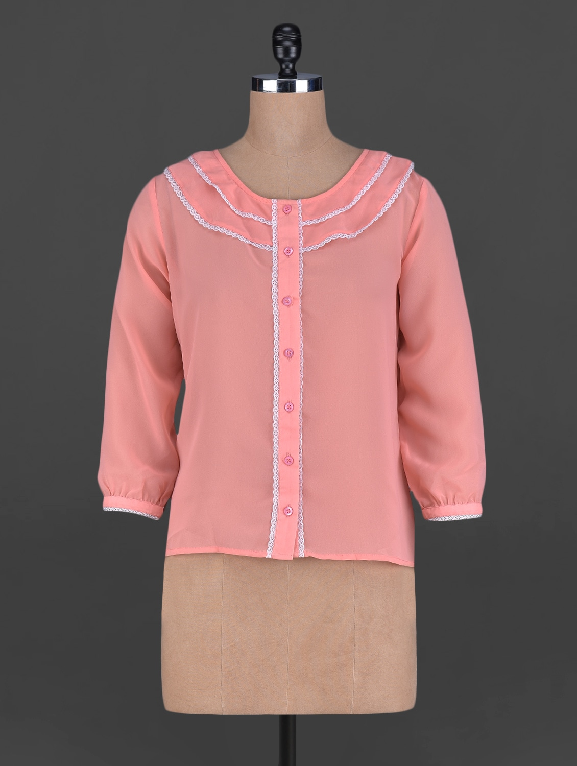 Button Down Long Sleeves Georgette Top - Holidae