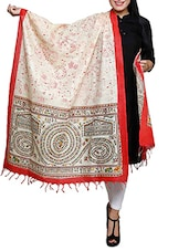Red Border Block Print Khadi Cotton Dupatta - By