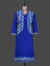 Blue Chevron Print Kurta With Jacket - Aadhunik Libaas