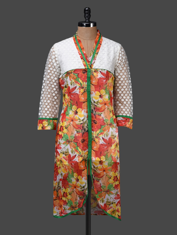 Quarter Sleeves Floral Print Kurta - Shakumbhari