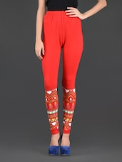 Red Knitted Viscose Lycra Leggings - 27Ashwood