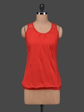Red Polka Dots Sleeveless Cotton Top - 27Ashwood
