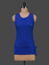 Royal Blue Cotton Lace Sleeveless Top - 27Ashwood