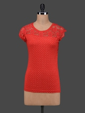 Red Polka Dots Lace Yoke Cotton Top - 27Ashwood