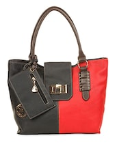 Red And Black Leatherette Handbag - Eleegance