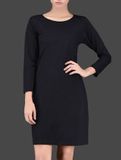 Quarter Sleeves Open Back Black Dress - Miss Chase