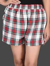 Checks Printed Cotton Shorts - I AM FOR YOU